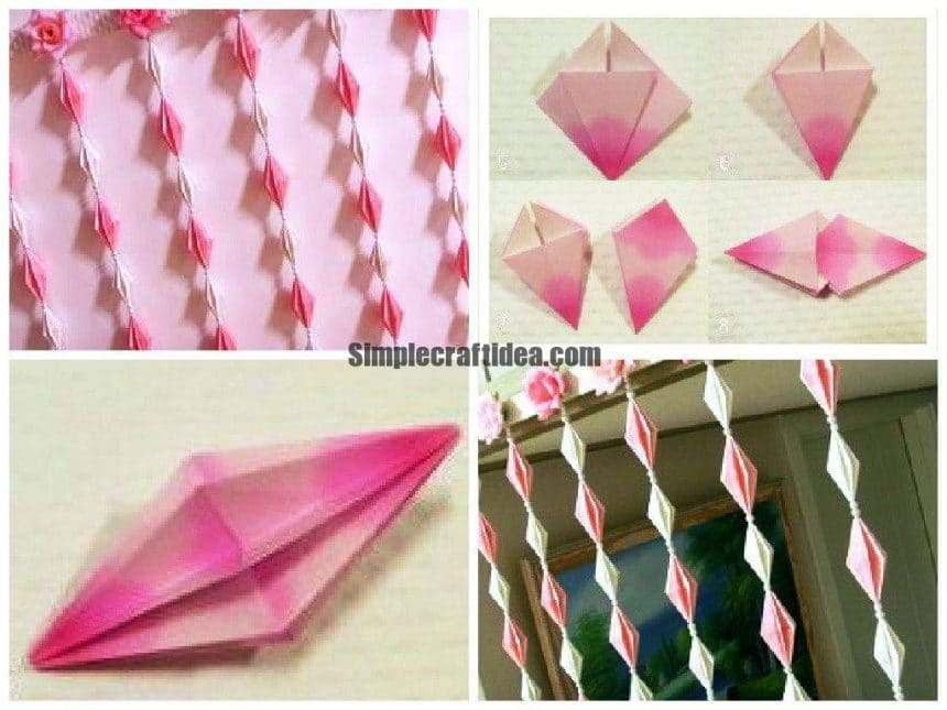 Origami door curtain