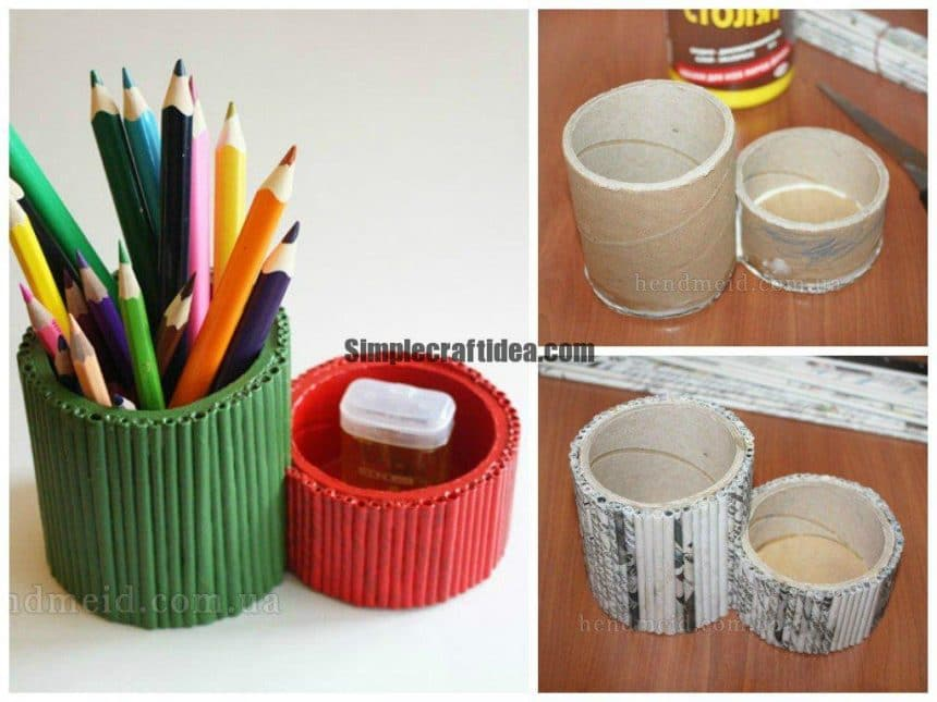 Pencil holders of cardboard and newspaper tubes reels
