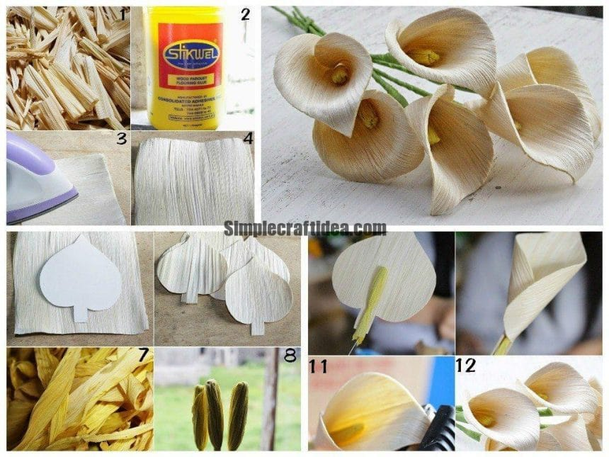 How to make calla lily flowers using dried corn husks
