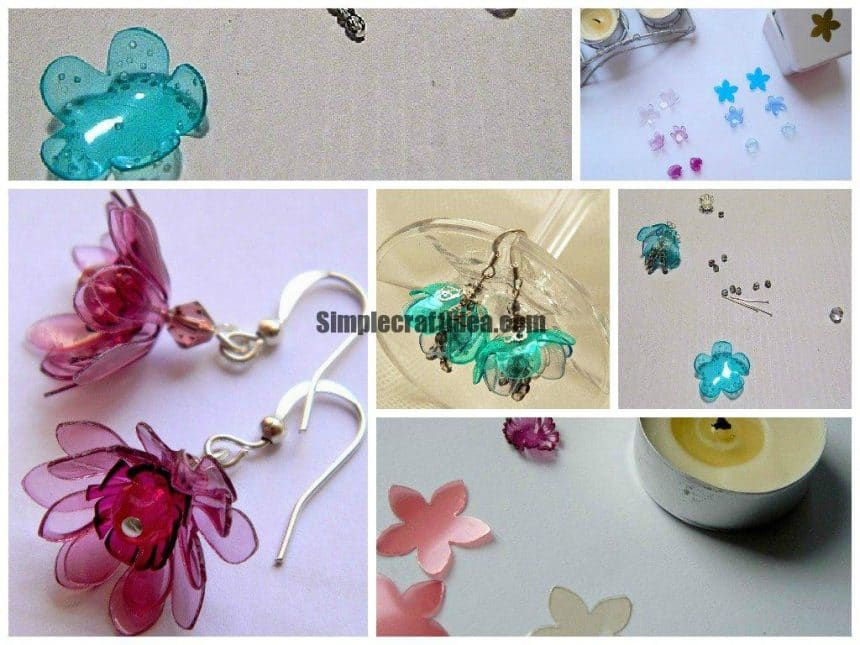 Plastic bottles flower earrings