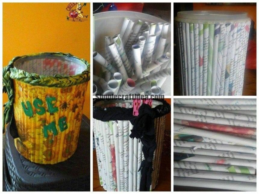 Paper roll up dust bin