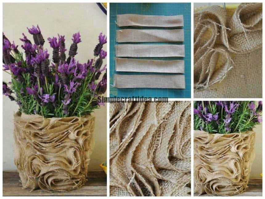 Stylish vase of burlap