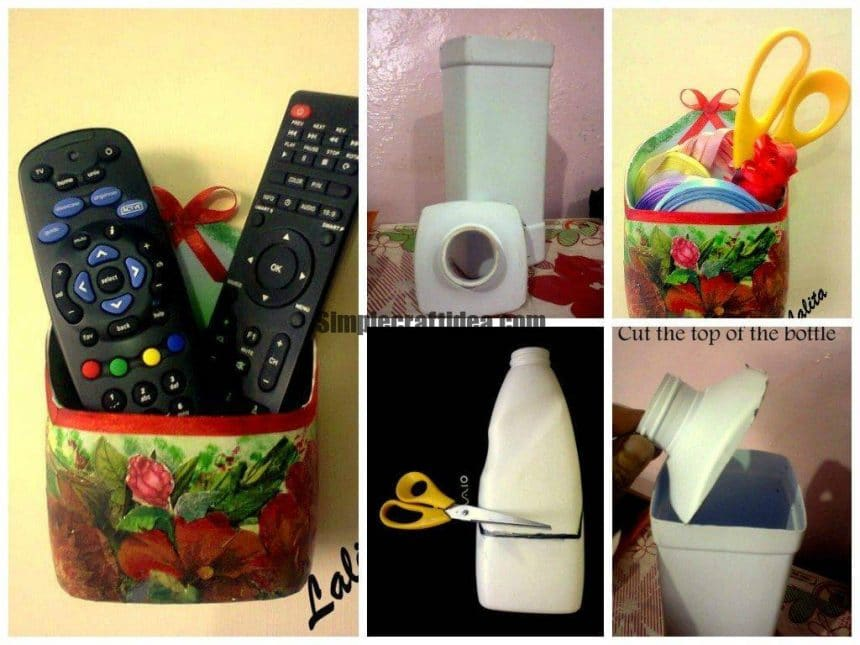 Re-cycle your old plastic bottles and decoupage