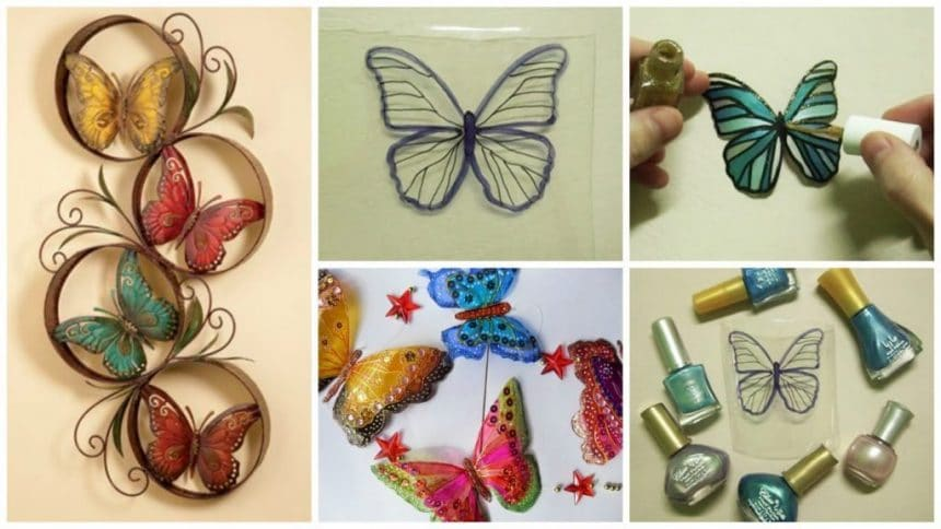PET bottle butterfly wall art