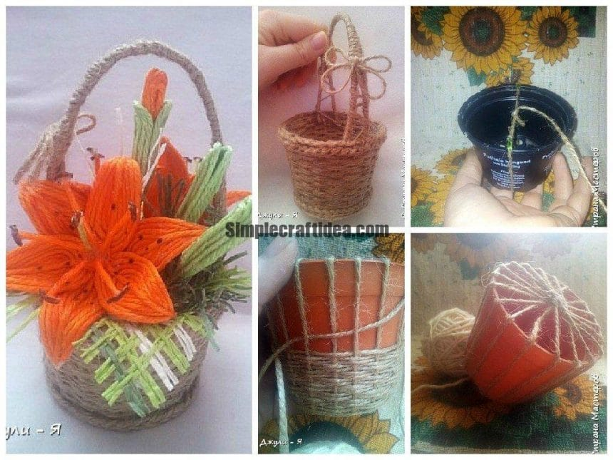 Weaving baskets from twine for small presents