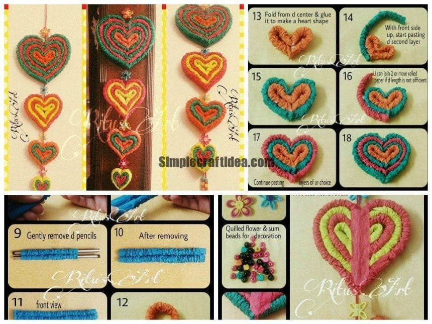 Heart shape crepe paper wall hanging