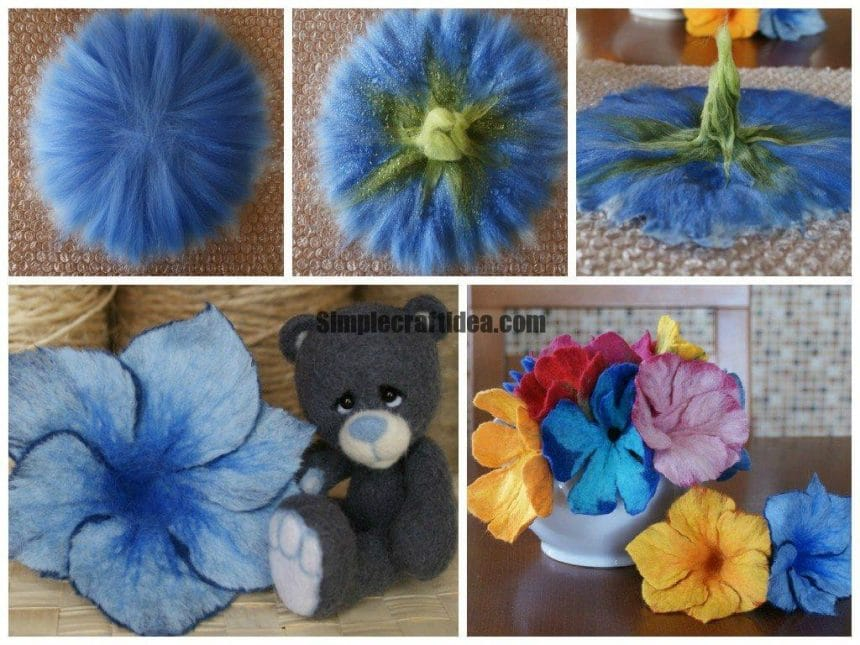 Flowers in the technique wet felting wool