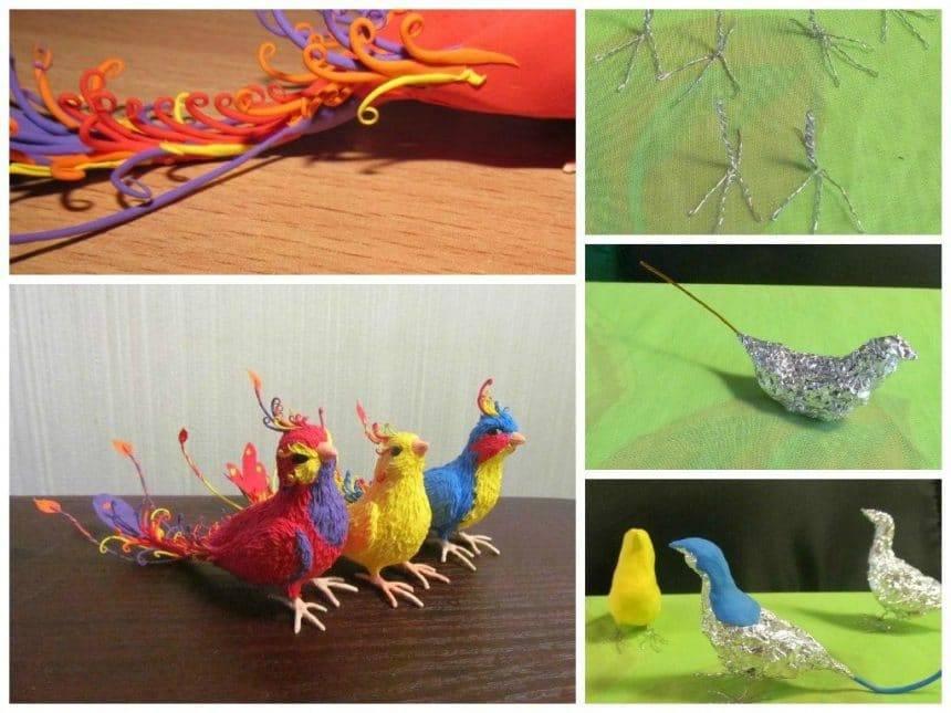 Creating birds from velvety plastic