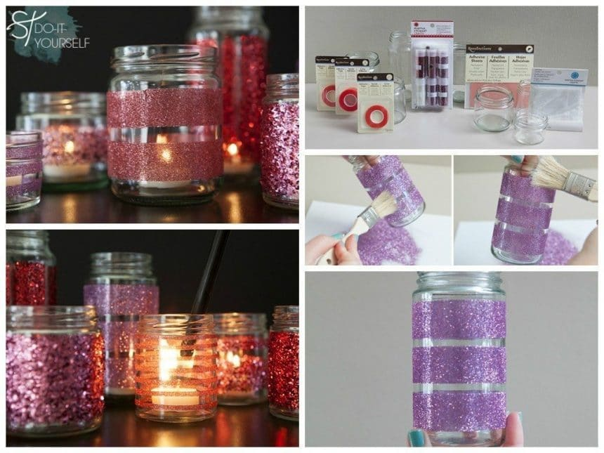 Glittered glass jars