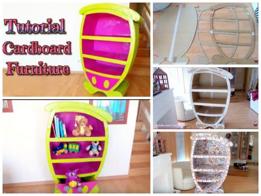 Cartoon furniture from cardboard boxes