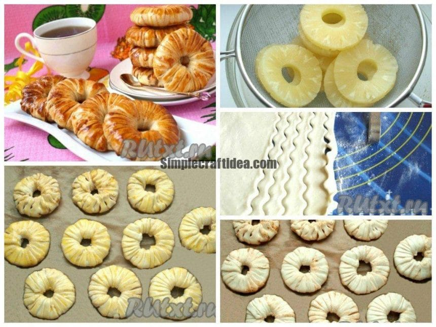 How to cook the pineapple rings in puff pastry