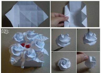 Boxes with roses origami