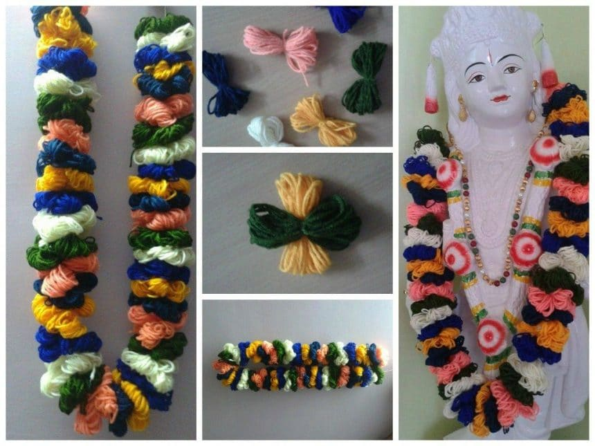 Colorful woolen flower chain