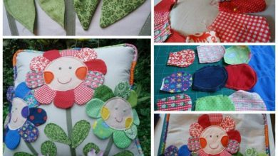 Cushion with cheerful flowers