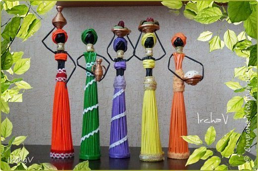 African Doll From Newspaper Tubes Simple Craft Ideas