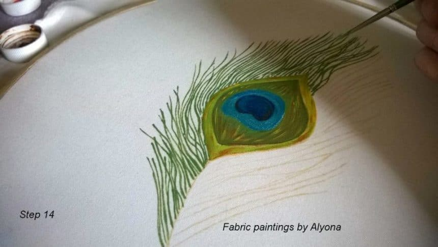 How To Draw A Peacock Feather On Fabric Simple Craft Ideas
