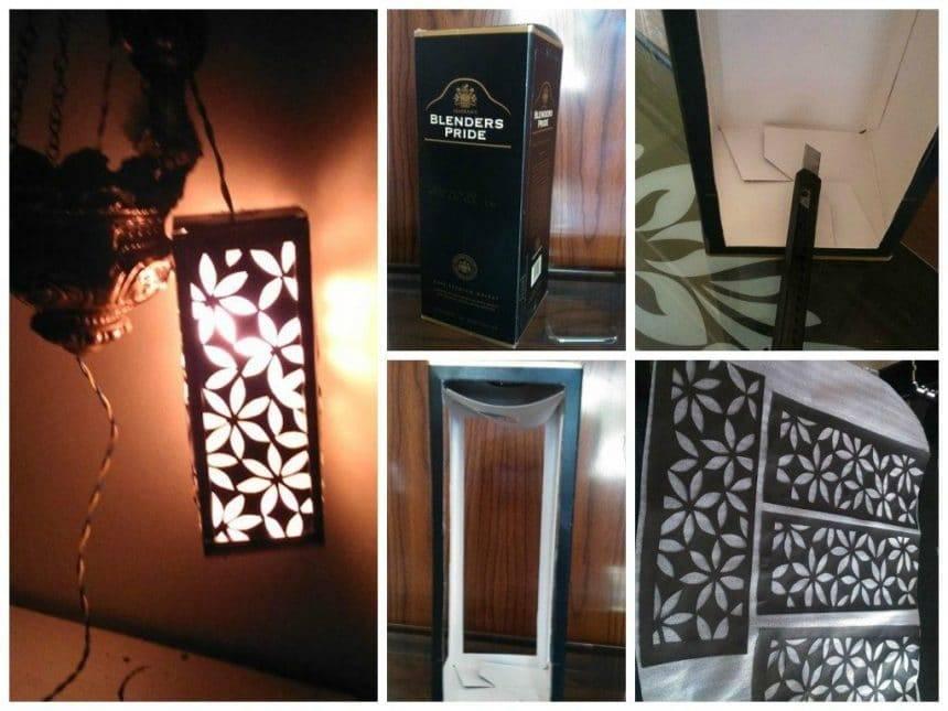Lamp shade with water carton