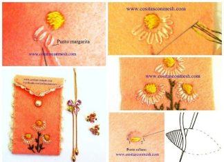 Embroidered daisies for mobile phone