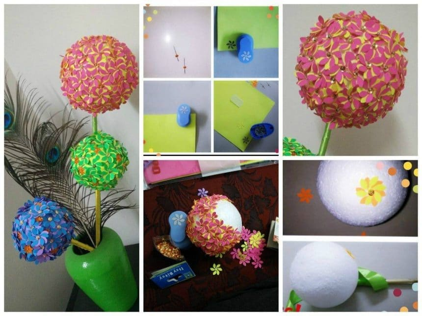 Flower ball using craft punch