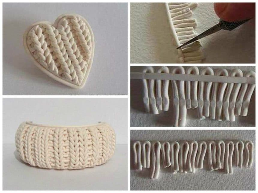Imitation of knitting from polymer clay