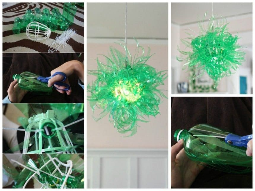 Lamp made with bottles
