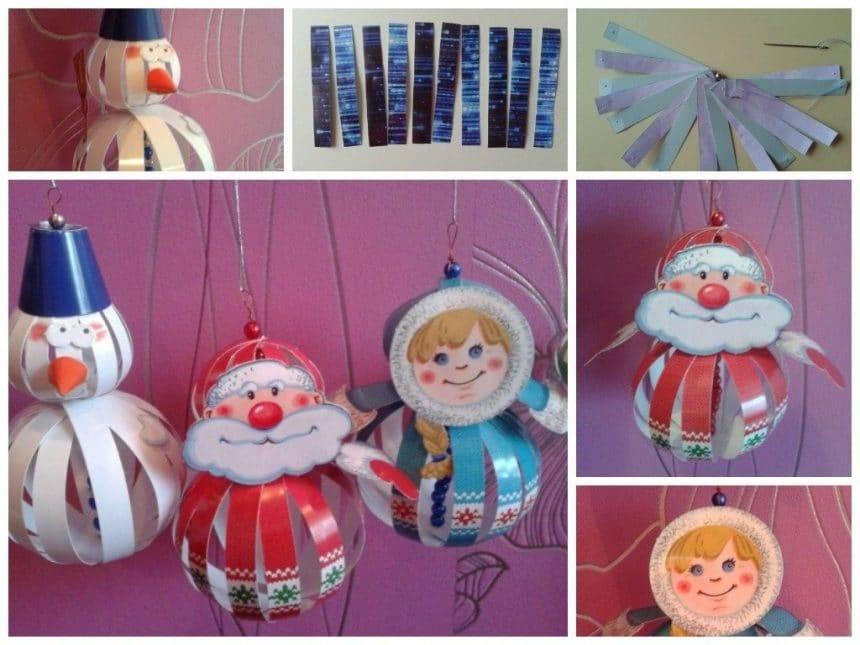 Christmas tree balls with stripes