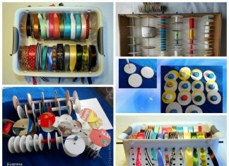 Ribbons and lace storage