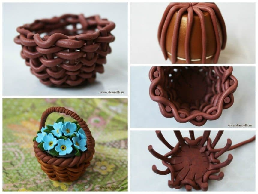 Flower basket from polymer clay
