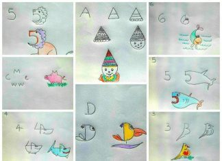 Kids friendly drawing with numbers as a base