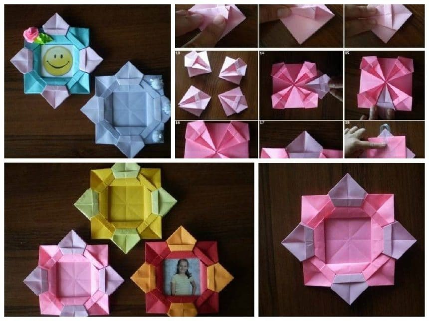 Diy Origami Flower Picture Frame Simple Craft Ideas