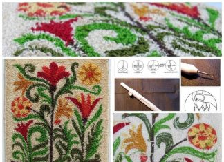 Punch needle embroidery rug