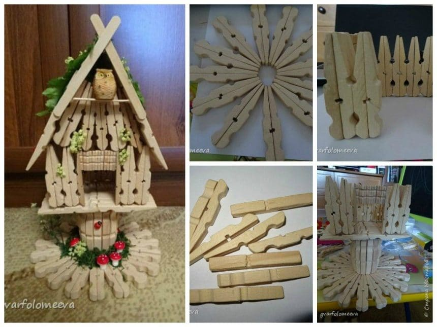Hut from clothespins