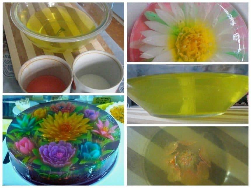 3D flowers in jelly