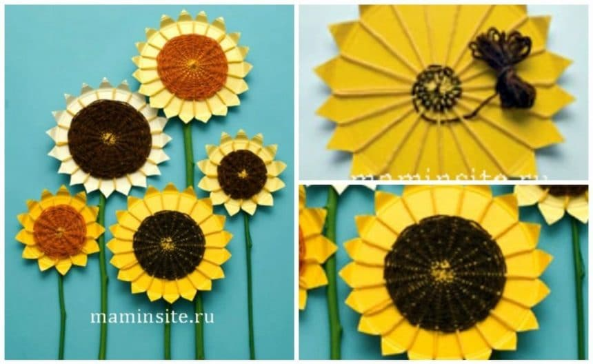 Bouquet of sunflowers from the yarn and paper plates