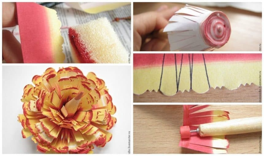 Create unusual quilling flower