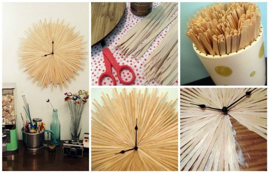 How to make a wooden clock from wooden sticks