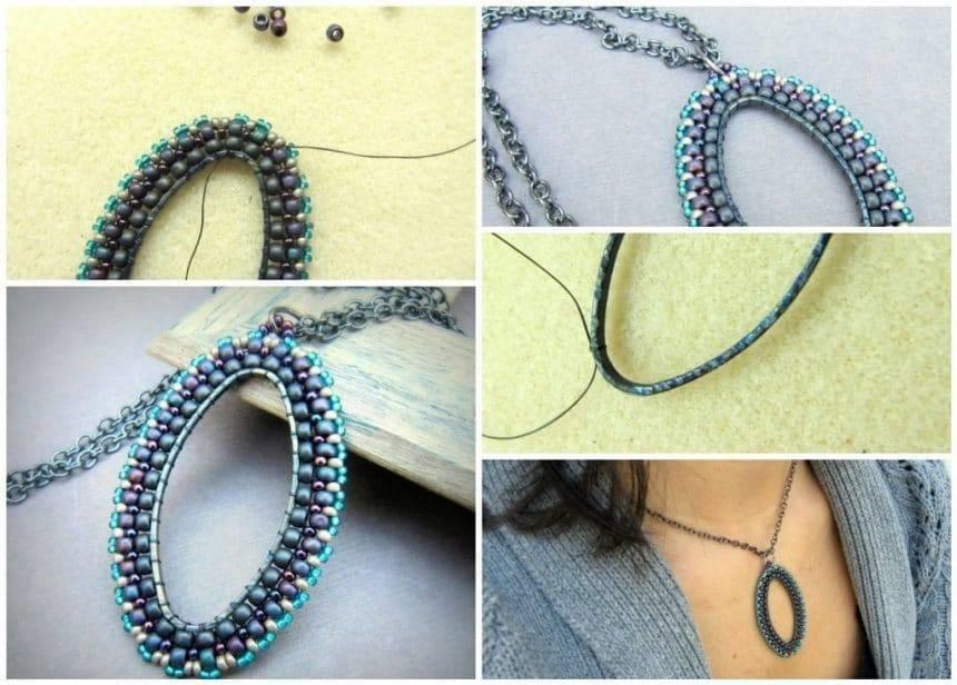 Oval bead pendant