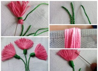 Tassel stitch and stem stitch