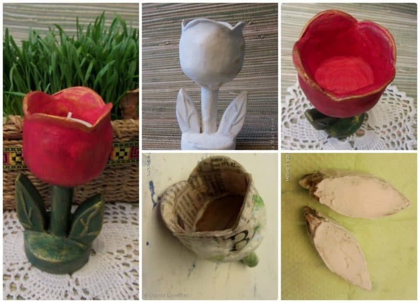 Decorative candle holder in the shape of a tulip