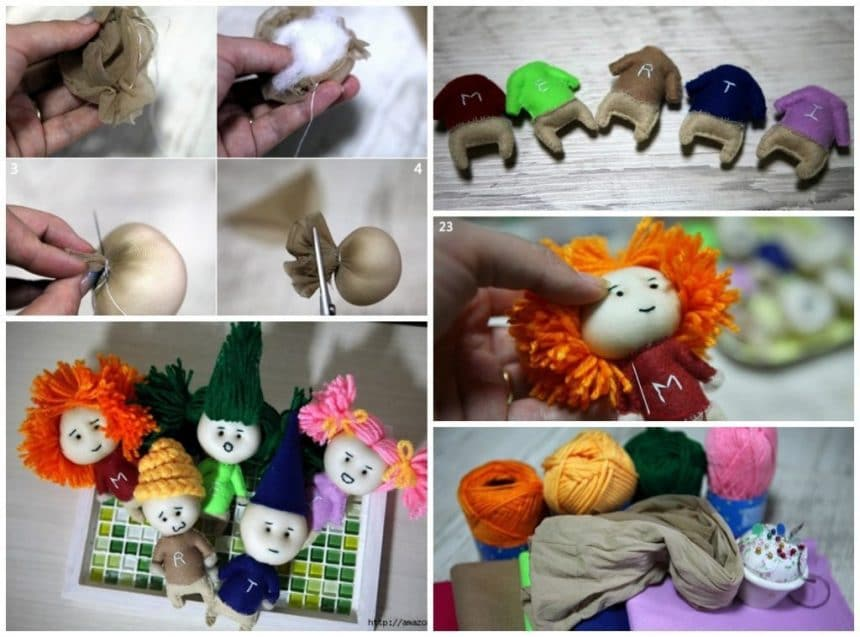 Miniature dolls of nylon, felt and colored yarn