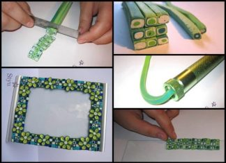 Making a photo frame made of polymer clay