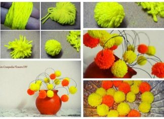 Flowers from pompoms