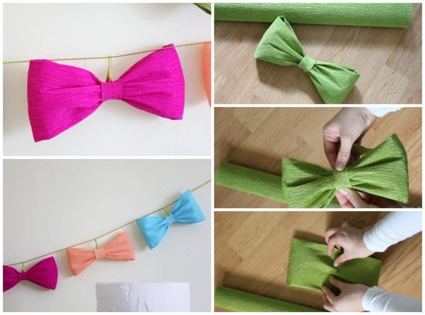 Bows of corrugated paper for the festive garland