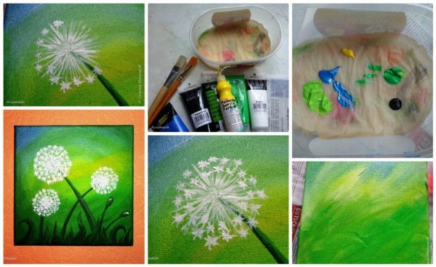 Dandelions from acrylic paint