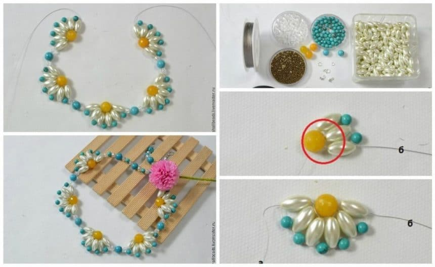 Weave necklaces with summer daisies