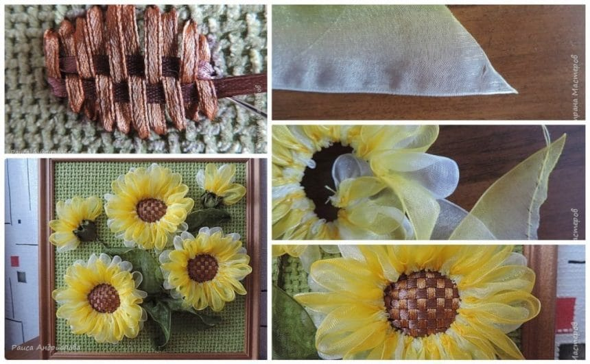 Sunflowers from satin ribbon