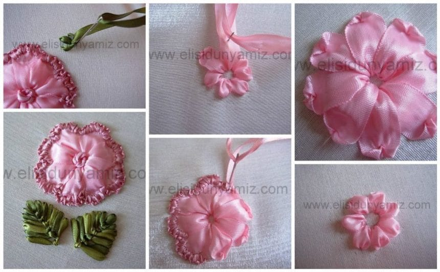 Embroidery flower from tape