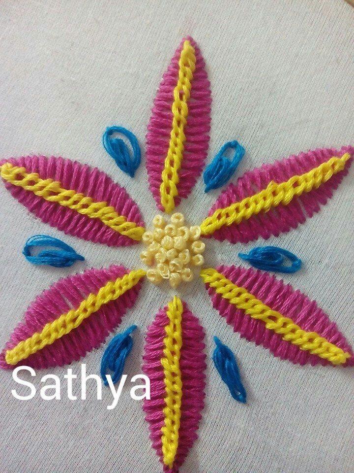 Bordado Fantasia Cadena Grisol French Knot Stitch And Oyster Stitch Simple Craft Ideas