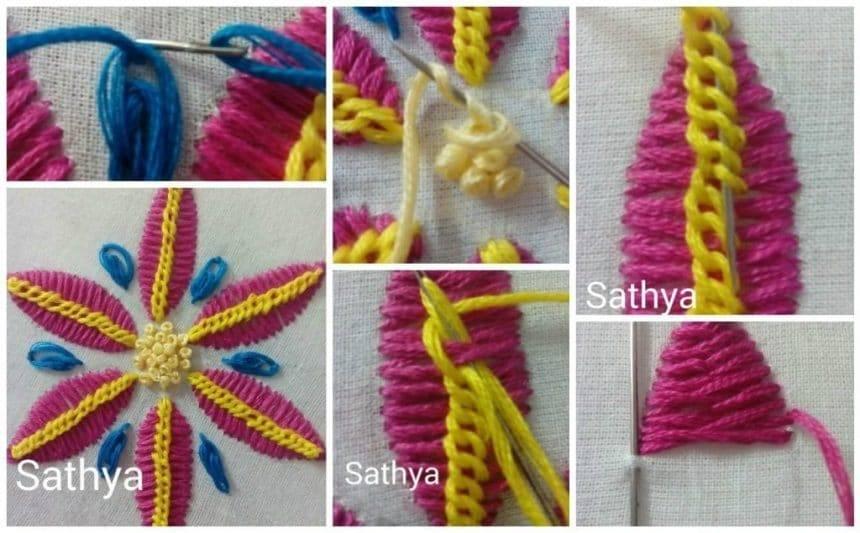 Bordado fantasia cadena grisol,french knot stitch and oyster stitch