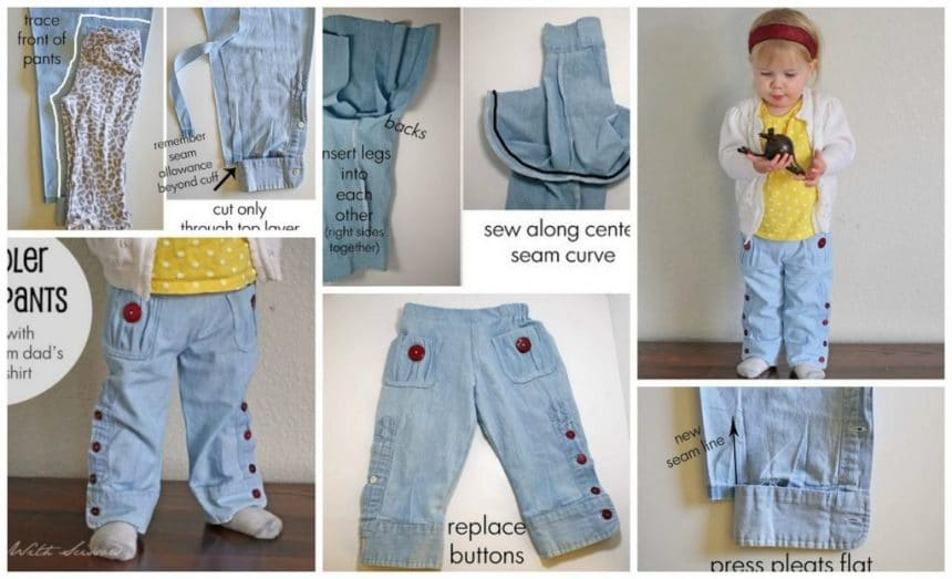 Sewing children's trousers in daddy's shirt